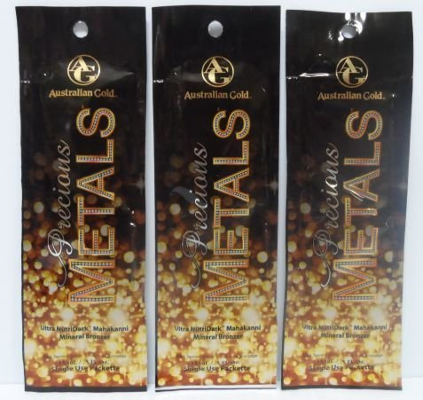 3 Packets 2013 Precious Metals Bronzer Tanning Lotion .5 oz.
