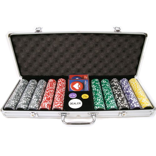 Trademark 500 15 Gram Clay Laser Las Vegas Chip Set with Aluminum Case, Silver