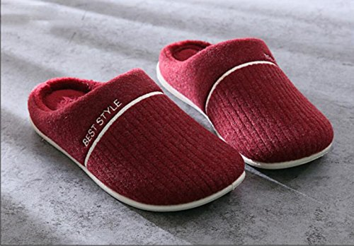 KISS GOLD(TM) Unisex Soft Fleece Lined Washable Slip On House Slippers Wine Red PyrnM6Rnq1