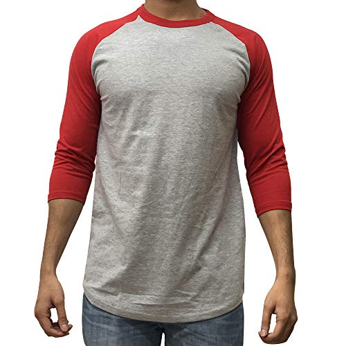 KANGORA Men's Plain Raglan Baseball Tee T-Shirt Unisex 3/4 Sleeve Casual Athletic Performance Jersey Shirt (24+ Colors) (Gray Red, Medium)