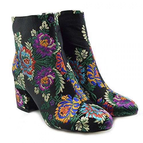 Multi Shoes High Boot Kick Celeb Heel Ankle Ladies Black Colour Floral Print Block Footwear z0SIR4Sq7
