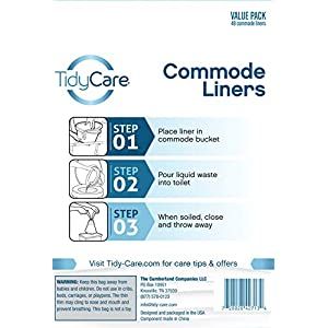 TidyCare Commode Liners for Bedside Portable Toilet Chair Bucket   Value Pack of 48 Disposable Waste Bags for Adults…