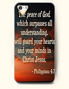 iPhone 5 5S Case OOFIT Phone Hard Case ** NEW ** Case with Design The Peace Of God,Which Surpasses All Understanding,Will Guard Your Hearts And Your Minds In Christ Jesus Philippians 4:7- Bible Verses - Case for Apple iPhone 5/5s