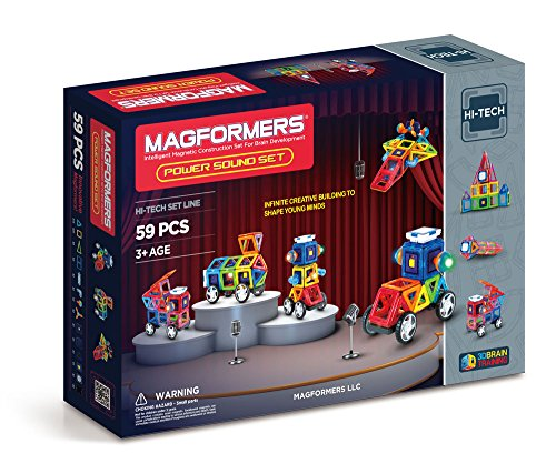 (Magformers Power Sound Set (59 Piece) Magnetic    Building      Blocks, Educational  Magnetic    Tiles Kit , Magnetic    Construction  STEM Musical Toy Set includes wheels)