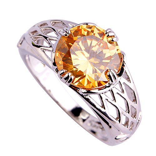 Brilliant Yellow Diamond Solitaire Ring - Narica Womens Brilliant Round Cut Yellow Stone Puzzle Cocktail Ring