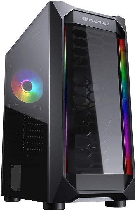 Cougar Case MX410-T - Funda compacta y Potente con Lateral de Cristal Templado, Doble Tira RGB, Panel, 1 Ventilador RGB: Amazon.es: Informática