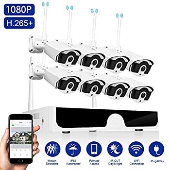 Image of [8CH Expandable]Wireless Security Camera System 1080P Abowone 8CH Wireless H.265 NVR,4PCS 2.0MP 1080P Waterproof Indoor/Outdoor Wireless Security Cameras Remote View 100ft Night Vision(No Hard Drive) Surveillance DVR Kits