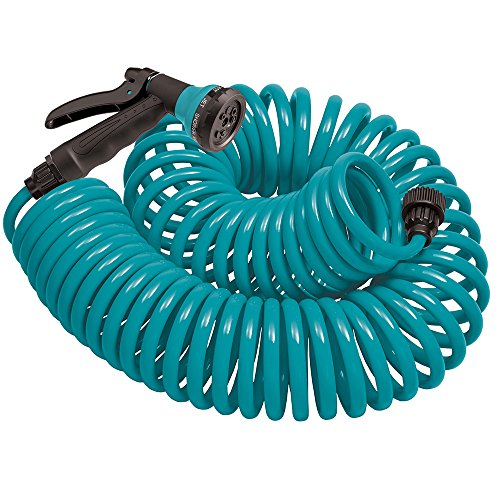 Orbit 27436 50-Foot Coil Hose with Nozzle, Teal