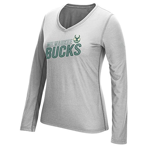 fan products of NBA Milwaukee Bucks Women's Stacked Long Sleeve Ultimate Tee, Medium, Gray