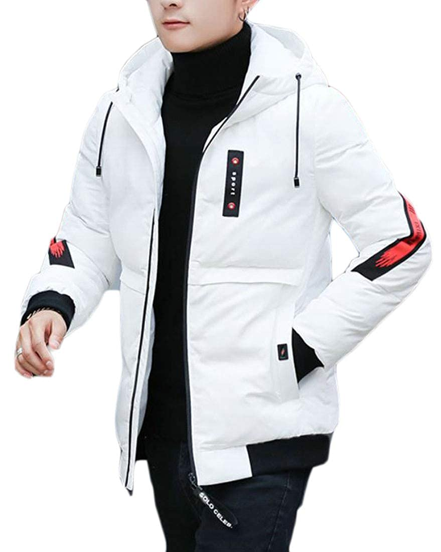 Pandapang Mens Winter Quilted Hooded Thick Letter Print Parka Coat Jacket