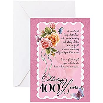 Amazon hallmark 100th birthday greeting card 100th with cafepress 100 years old greeting card roses and butterflie greeting card note bookmarktalkfo Images