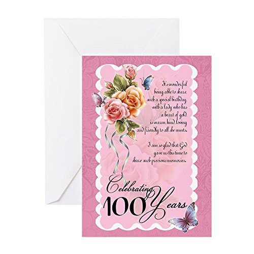CafePress - 100 Years Old Greeting Card - Roses And Butterflie - Greeting Card, Note Card, Birthday Card, Blank Inside Matte