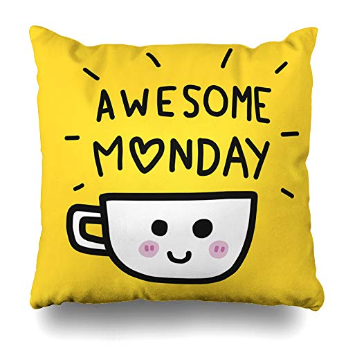 ONELZ Awesome Monday Word and Coffee Cup Cartoon Square Decorative Throw Pillowcase Two Sides Printed, Fashion Style Zippered Cushion Pillow Cover (16 x 16 inch)