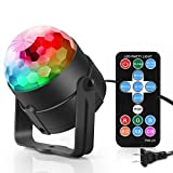 BONAOK Sound Activated Party DJ Lights with Remote Control 7 Lighting Color, RGB Stage Disco Magic Strobe Ball Light for Party Birthday Wedding Bar Karaoke Club