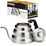 japanese pour over kettle - Pour Over Kettle with Thermometer for Exact Temperature - Gooseneck Kettle for Pour Over Coffee and Tea - 1.0 Liter | 34 fl oz