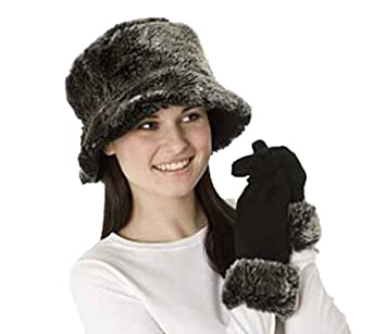 afa312ea0c0 Socks Uwear New Ladies Faux Fur Chilton Reversible Hat-Glove Winter Set  Black