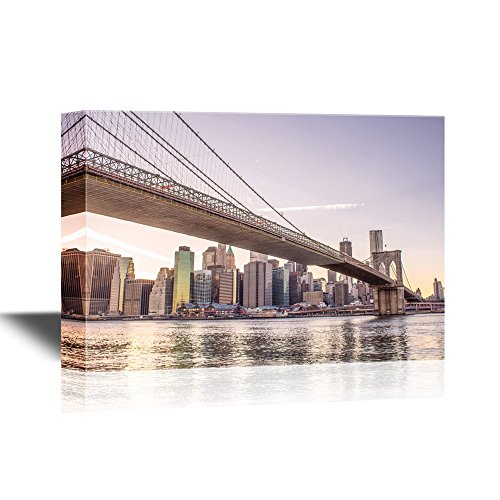 - wall26 - Watercolor Style Canvas Wall Art - Architectural Detail of Brooklyn Bridge in New York City, U S A - Gallery Wrap Modern Home Decor | Ready to Hang - 24x36 inches