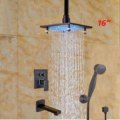 """BZM-ZM 蛇口16"""" ウォールは、降雨LEDの色ソリッドブラス浴室のシャワーの蛇口ORBミキサータップ、クリアをマウント"""