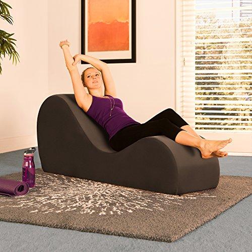 Liberator Chaise Lounge Yoga Chair Espresso Micro Velvet