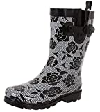 Capelli New York Ladies Shiny Lace and Roses Printed Mid-Calf Rain Boot Black Combo 8