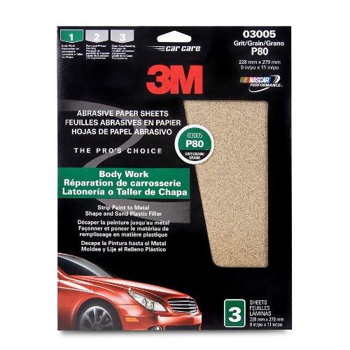 3M 03005 9'' x 11'' Medium Aluminum Oxide Automotive Sandpaper (Pack of 40)