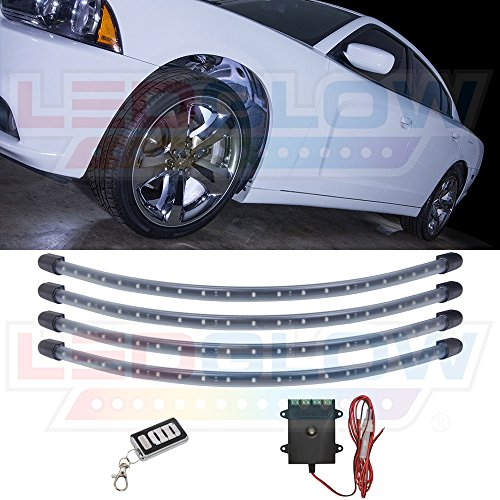 LEDGlow 4pc White LED Wheel Well Fender Accent Neon Lighting Kit for Cars & Trucks - 6 Patterns - Music Mode - 24 Water Resistant Flexible Tubes - Includes Control Box & Wireless Remote