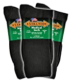 Extra Wide Men's Black Medical (Diabetic) Mid Calf Crew Sock, Shoe Size 11 - 16 Up to 6E Wide 3PK, Antimicrobial, Made