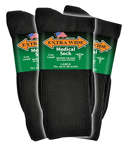 Diabetic Socks Seamfree (Extra Wide Men's Black Medical (Diabetic) Mid Calf Crew Sock, Shoe Size 11 - 16 Up to 6E Wide 3PK, Antimicrobial, Made)