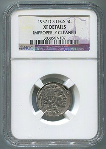 1937 D 3 Legs Buffalo Nickel. NGC XF Details. Denver Mint. 3 Legged Buffalo