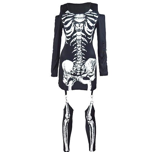 LHZTZKA Disfraz de Disfraz de Esqueleto óseo de Halloween para ...