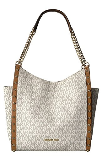 MICHAEL Michael Kors Newbury Medium Chain Shoulder Tote (Vanilla Stud)