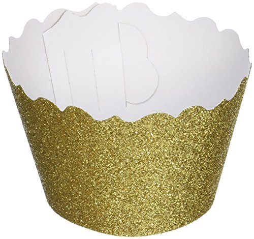 Bella Cupcake Couture 633131980196 Glitter Crown Gold Cupcake Wrappers, Kings Gold, Set of 12