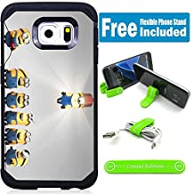 Samsung Galaxy Note 5 Hybrid Armor Defender Case Cover with Flexible Phone Stand - Minions bulb