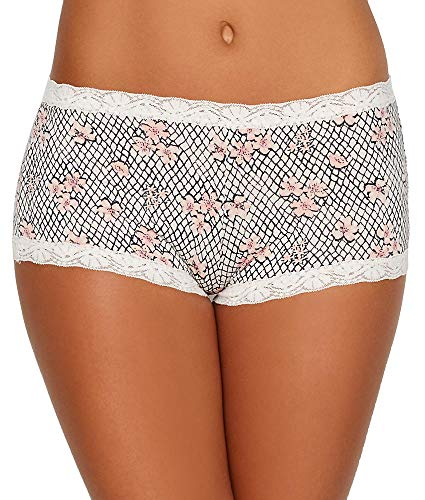 Maidenform Women's Microfiber with Lace Boyshort Panty, Floral net Print/Soft Pink, 7