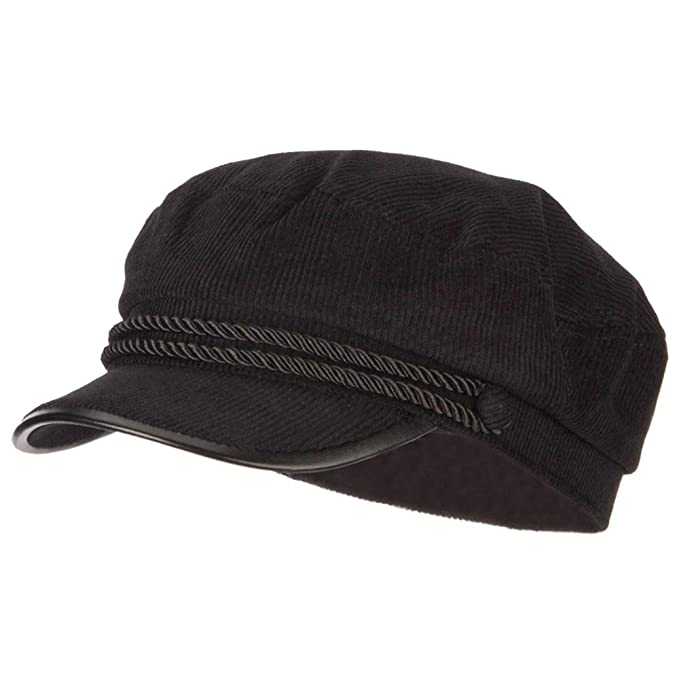 038b4bbf6e SS Hat Corduroy Greek Fisherman Captain Cap with Rope - Black OSFM ...