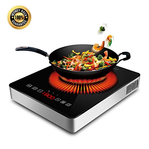 1800W Portable Induction Cooktop Countertop Burner Cooktop with Timer - Locker and LED Display