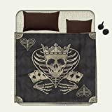 smallbeefly Skull Patterned blanket Vector Skull Poker Cards Play Game Scary Horror Image with Crown and Heartbeach blanket Dark Grey Tan Beige