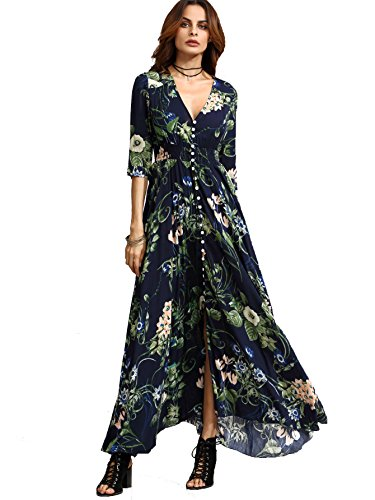 - Milumia Women's Button Up Split Floral Print Flowy Party Maxi Dress X-Large Navy_Green