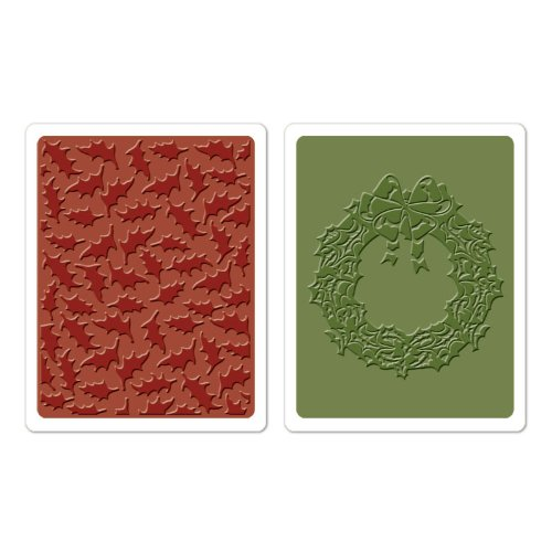 (Sizzix Texture Fades Embossing Folders 2PK - Holly Pattern & Wreath Set by Tim Holtz )