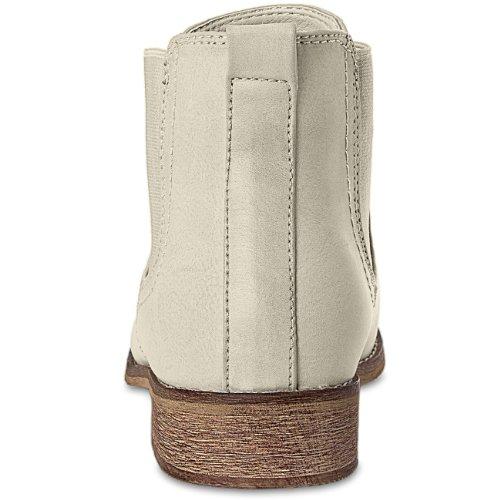 CASPAR Womens Simple Classic Short Boots / Chelsea Boots - SBO025 Beige bNU9q