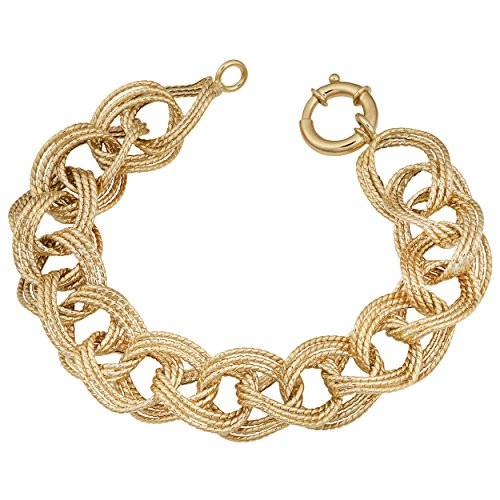 14k Yellow Gold 16.5mm Twist Oval Link Bracelet (8 Inch)