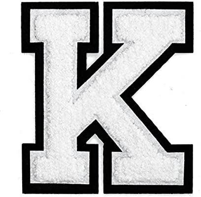 Amazon Com Letter K Chenille Stitch Varsity Iron On Patch By Pc 4 1 2 White Black Tr 11648 Arts Crafts Sewing
