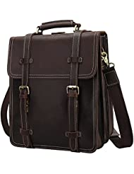 S-ZONE Men's 3-Way Rustic Crazy Horse Genuine Leather Briefcase Convertible Backpack Shoulder Laptop Tote Bag