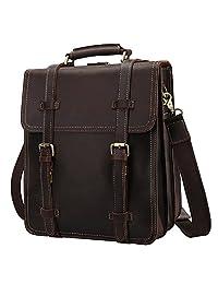 S-ZONE Vintage Crazy Horse Genuine Leather Backpack Messenger Shoulder Bag