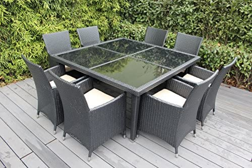 Ohana Outdoor Patio Wicker Furniture Square 9pc All Weather Dining Set with Free Patio Cover