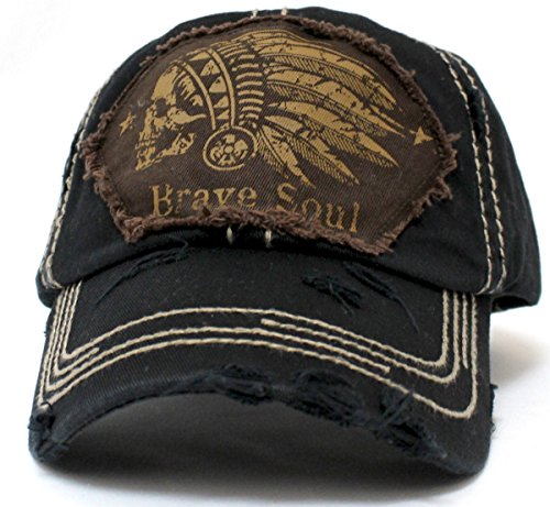 Black Chief Skull Brave Soul Embroidery Patch Vintage Baseball Hat