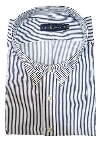 (Polo Ralph Lauren Men's Big & Tall Stripe Button Down Shirt, XXX-Large Tall, White/Blue)