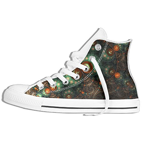 Classic High Top Sneakers Canvas Shoes Anti-Skid Art Pattern Casual Walking For Men Women White ja7PO06NLF