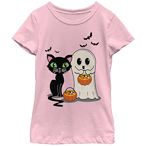 Lost Gods Halloween Black Cat and Ghost Trick or Treat Girls Graphic T Shirt (Cute Werewolf Costumes For Kids)
