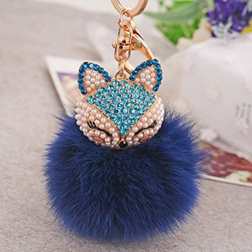 Compact Velo Safe (1 Pc Mini Pocket Crystal Fox Rabbit Blue Fur Ball Keychain Keyring Keyfob Fluffy Pompom Pendant Keys Chains Rings Tags Strap Wrist Excellent Popular Cute Wristlet Utility Keyrings Tool, Type-02)